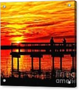 Sunset Fishing At The Pier Acrylic Print