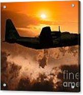 Sunset Flight C-130 Acrylic Print by Wernher Krutein