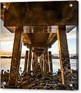 Sunset From Under The Pier Acrylic Print