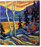 Sunset Geo Landscape Original Oil Painting By Prankearts Acrylic Print