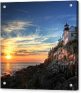 Sunset Glow At Bass Harbor Acrylic Print