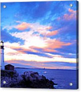 Sunset In Fork Williams Lighthouse Park Portland Maine State Acrylic Print