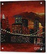 Sunset In New York Acrylic Print by Denisa Laura Doltu