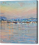 Sunset In Piermont Harbor Ny Acrylic Print
