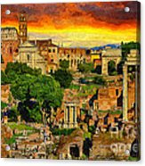 Sunset In Rome Acrylic Print by Stefano Senise