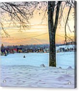 Sunset In The Snow Acrylic Print