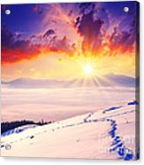 Sunset In The Winter Acrylic Print by Boon Mee