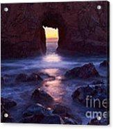 Sunset On Arch Rock In Pfeiffer Beach Big Sur In California. Acrylic Print