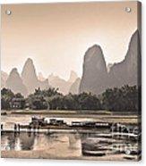 Sunset On Li River Acrylic Print
