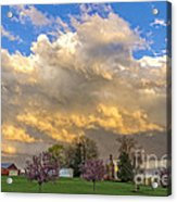 Sunset On Mixed Clouds Acrylic Print