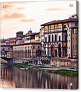 Sunset On Ponte Vecchio In Florence Acrylic Print by Susan Schmitz