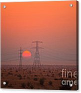 Sunset On Pylons In Dubai Desert Acrylic Print