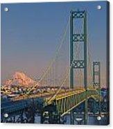 1a4y20-v-sunset On Rainier With The Tacoma Narrows Bridge Acrylic Print