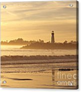 Sunset On The Lighthouse In Santa Cruz Harbor Acrylic Print
