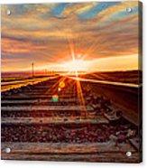 Sunset On The Rails Acrylic Print