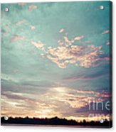 Sunset On The River In The Peruvian Amazon Jungle Acrylic Print