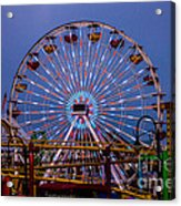 Sunset On The Santa Monica Ferris Wheel Acrylic Print