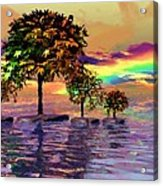 Sunset On Trees And Ocean Acrylic Print