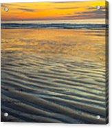 Sunset On Wet Sandy Beach Seascape Fine Art Photography Print  Acrylic Print
