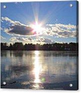 Sunset Ove A Frozen Pond Acrylic Print