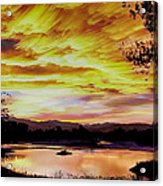 Sunset Over A Country Pond Acrylic Print