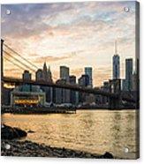 Sunset Over Brooklyn Bridge Acrylic Print