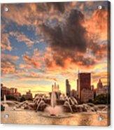 Sunset Over Buckingham Fountain Acrylic Print