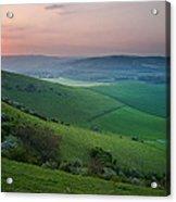 Sunset Over English Countryside Escarpment Landscape Acrylic Print