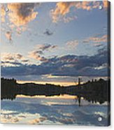 Sunset Over Flying Pond In Vienna Maine Acrylic Print by Keith Webber Jr