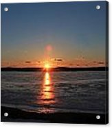 Sunset Over Frozen Wachusett Reservoir 2 Acrylic Print