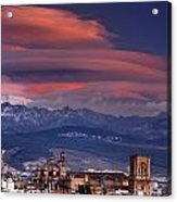 Sunset Over Granada And The Cathedral Acrylic Print