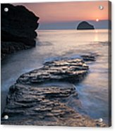 Sunset Over Gull Rock From Trebarwith Acrylic Print