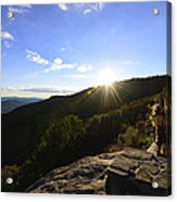 Sunset Over Halloween Decorations On Black Rock Mountain Acrylic Print