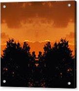 Sunset Over Jackson Michigan Mirror Image Acrylic Print