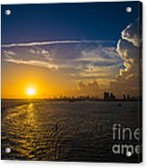 Sunset Over Miami From Out At Sea Acrylic Print