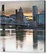 Sunset Over Portland City Skyline Panorama Acrylic Print