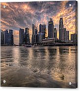 Sunset Over Singapore Skyline Acrylic Print