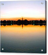 Sunset Over Still Waters Mirror Image Acrylic Print