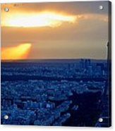 Sunset Over The Eiffel Tower Acrylic Print