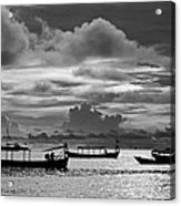 Sunset Over The Gulf Of Thailand Black And White Acrylic Print