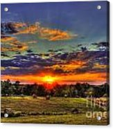 Sunset Over The Hay Field Acrylic Print