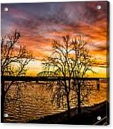 Sunset Over The Mississippi River Acrylic Print