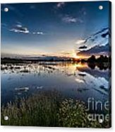 Sunset Over The River Acrylic Print by Steven Reed