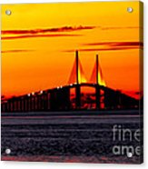 Sunset Over The Skyway Bridge Crop Acrylic Print