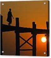Sunset Over The U Bein Foot Bridge Acrylic Print