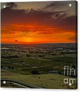 Sunset Over The Valley Acrylic Print by Robert Bales