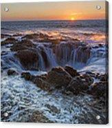 Sunset Over Thor's Well Along Oregon Coast Acrylic Print