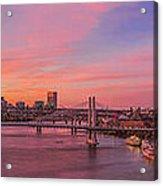 Sunset Over Tilikum Crossing Acrylic Print