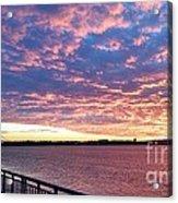 Sunset Over Verrazano Bridge And Narrows Waterway Acrylic Print