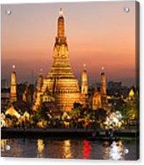 Sunset Over Wat Arun Temple - Bangkok Acrylic Print